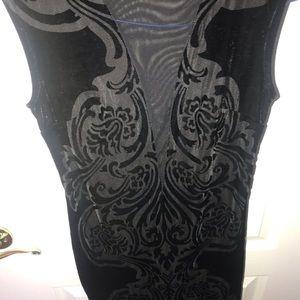 bailey blue Dresses - Mini black velvet dress with floral design